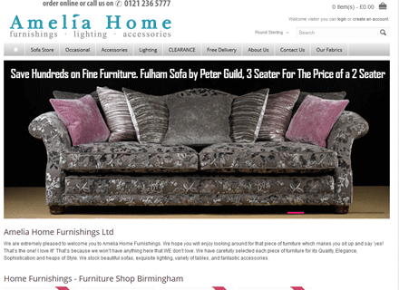 Amelia Home Furnishings Furniture Website
